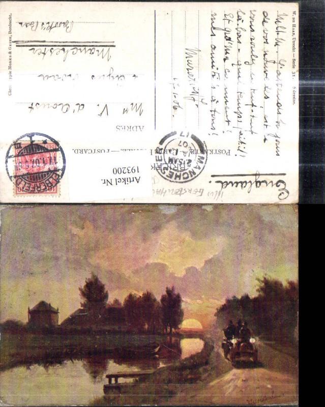 193200,Künstler Ak H. Gerstenhauer Automobil Oldtimer Weg entlang Fluss Brücke Sonnenuntergang Landschaft