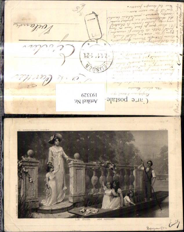 193329,Künstler Ak S. Kendrick Le Soir Am Abend Frau Mädchen Zille Boot Mann
