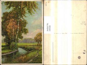 195526,Künstler Ak H. Winkler Bach Birken Ufer Landschaft