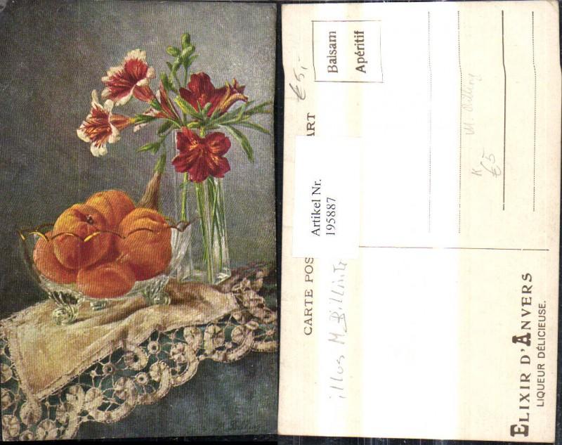 195887,Künstler Ak M. Billing Stillleben Orangen i. Schale Blumenvase Lilien