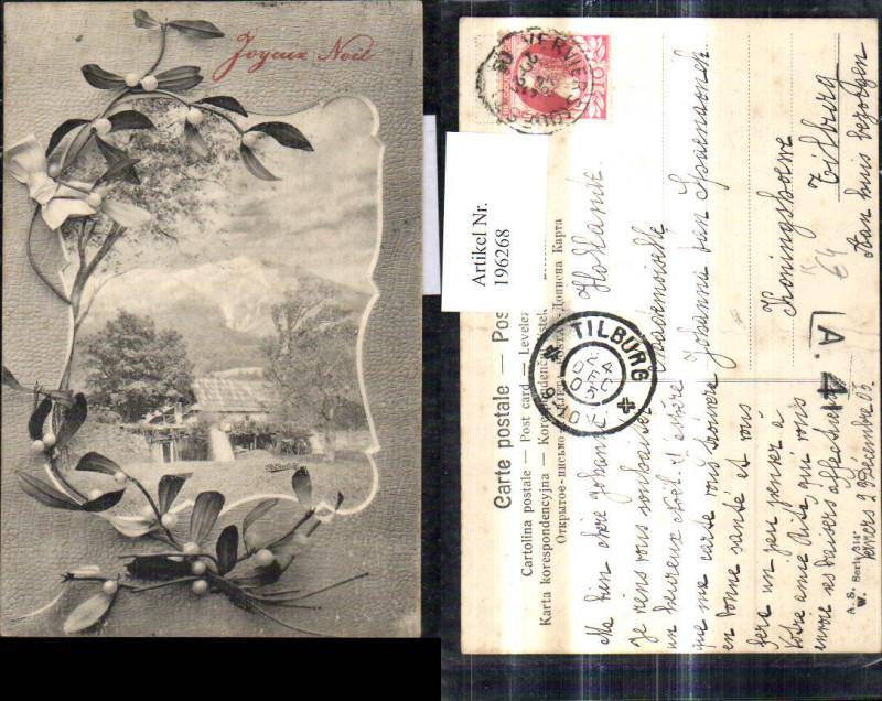 196268,Künstler Ak Ch. Scolik Haus Bergkulisse Passepartout Mistelzweig Joyeux Noel Weihachten