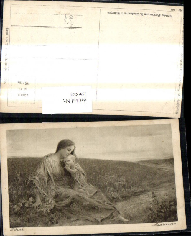 196824,Künstler Ak E. Czech Madonna Frau m. Kind Weg Landschaft