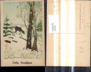198099,Künstler Ak Willy Schermele Reh Wild i. Winterwald Wald Landschaft