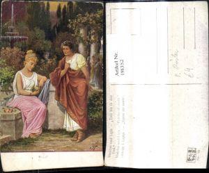 198352,Künstler Ak F. Rösler Vinicius u. Ligia Treu bis i. d. Tod Paar i. Garten Park