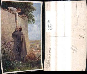 198487,Künstler Ak C. Benesch Du bist mir nah u. doch Frau a. Mauer Mann Handkuss Liebe