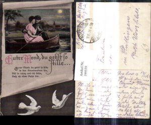 199559,Künstler Ak WW1 Soldat Paar Frau i. Ruderboot Mond Papierrolle Tauben Spruch Guter Mond du gehst so stille