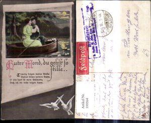 199564,Künstler Ak WW1 Soldat Paar Frau i. Ruderboot Mond Papierrolle Tauben Spruch Guter Mond du gehst so stille