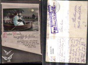 199566,Künstler Ak WW1 Soldat Paar Frau i. Ruderboot Mond Papierrolle Tauben Spruch Guter Mond du gehst so stille
