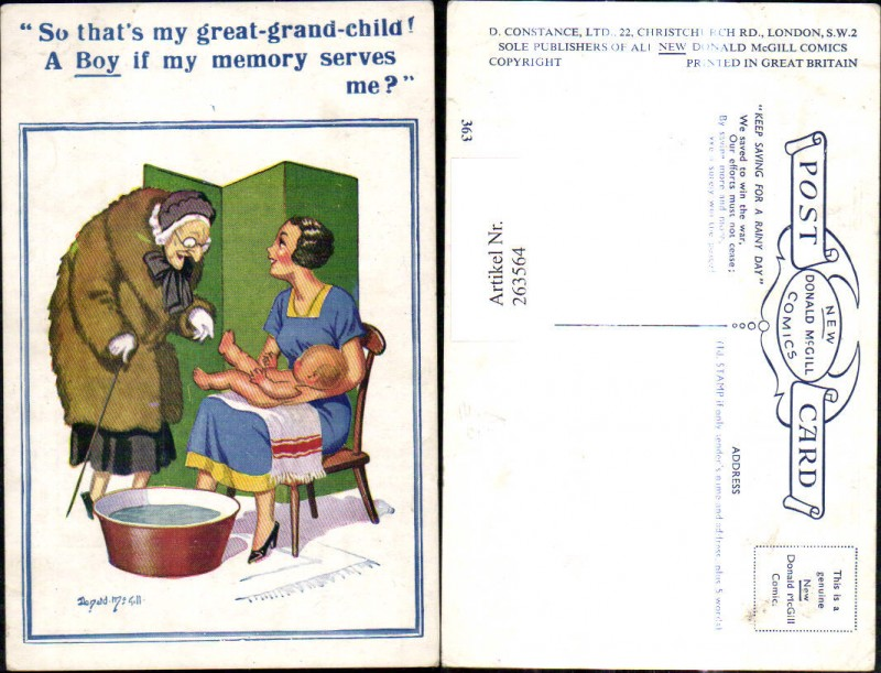 263564,Künstler Ak Donald McGill Frau m. Kind Baby Alte Frau m. Gehstock Wasserwanne Spruch