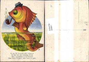 264067,Künstler Ak Fisch Goldfisch m. Hut Pfeife Spruch Text