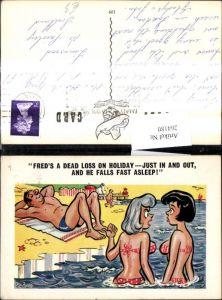 264180,Künstler Ak Pedro Frauen i. Bikini i. Wasser Mann schläft a. Strand Spruch Scherz Humor
