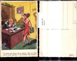 264215,Künstler Ak R. Marquo Sexy Frau v. Schreibtisch Mann Spruch Scherz Humor