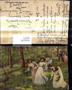 264277,Künstler Ak Haigh-Wood Frühling Frauen spazieren d. Wald Landschaft