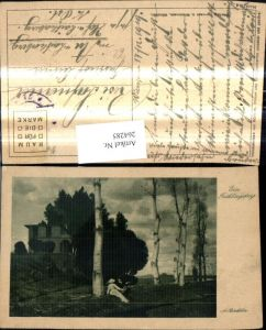 264285,Künstler Ak A. Böcklin Ein Frühlingstag Paar m. Mandoline b. Birke Bäume Landschaft