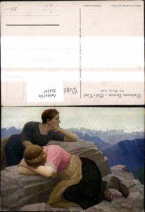 264397,Künstler Ak Th. Walch Frauen weinen a. Berg Felsen Stein Bergkulisse