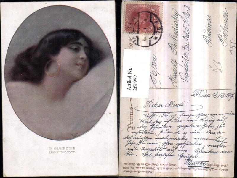 261987,Primus AK 3060 Künstler G. Guerzoni Das Erwachen Frau m. Ohrringe Portrait