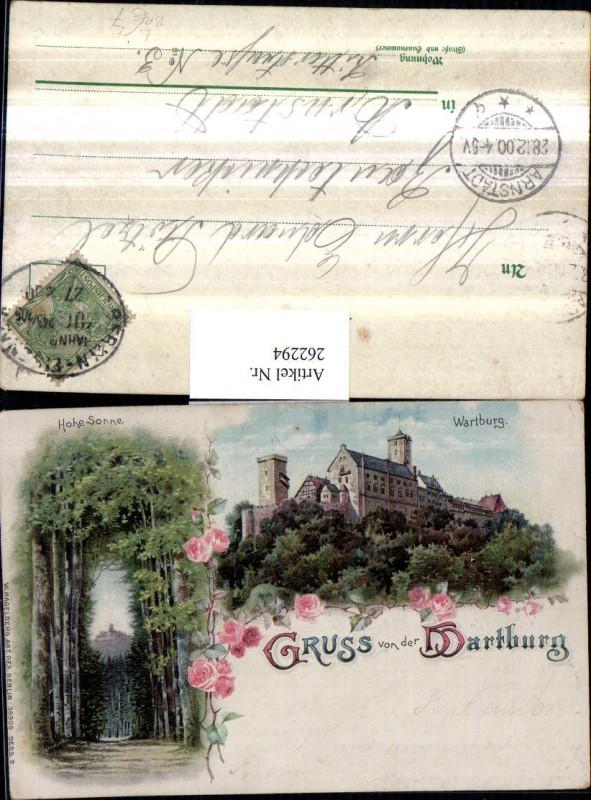 262294,Litho AK Gruß von d. Wartburg b. Eisenach Hohe Sonne Mehrbildkarte Bahnpost 243/205 Berlin – Eisenach