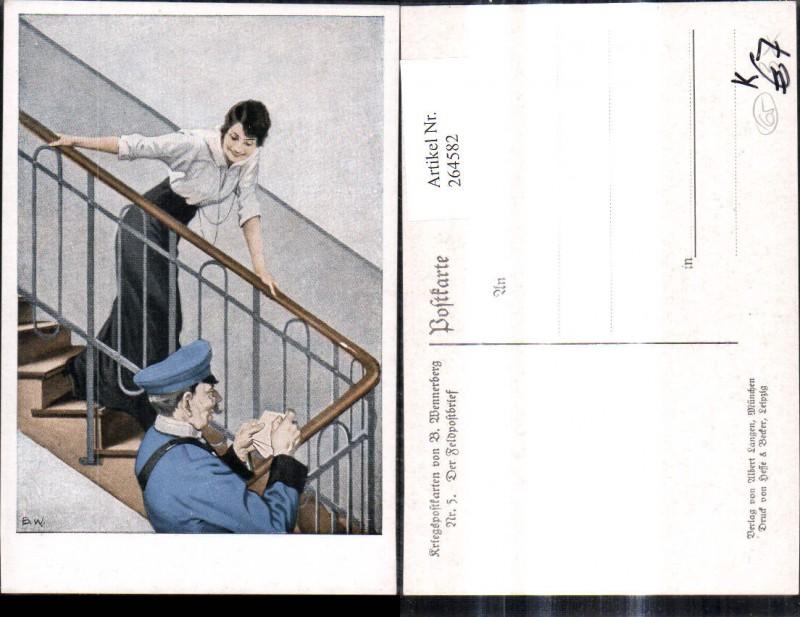 264582,Künstler Ak Brynolf Wennerberg 5 Der Feldpostbrief Postbote Frau Stiege Brief Lesen Kriegspost