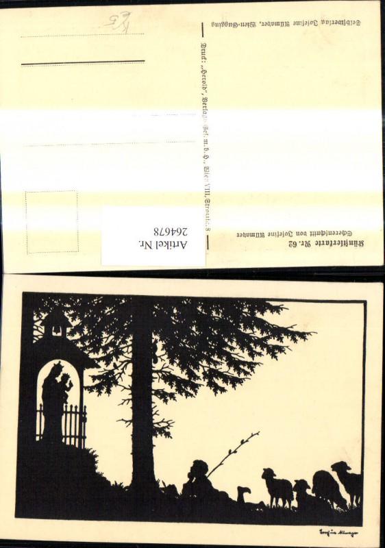 264678,Künstler Ak Scherenschnitt Silhouette Josefine Allmayer 62 Mub Junge Schafe Kapelle Marienkapelle