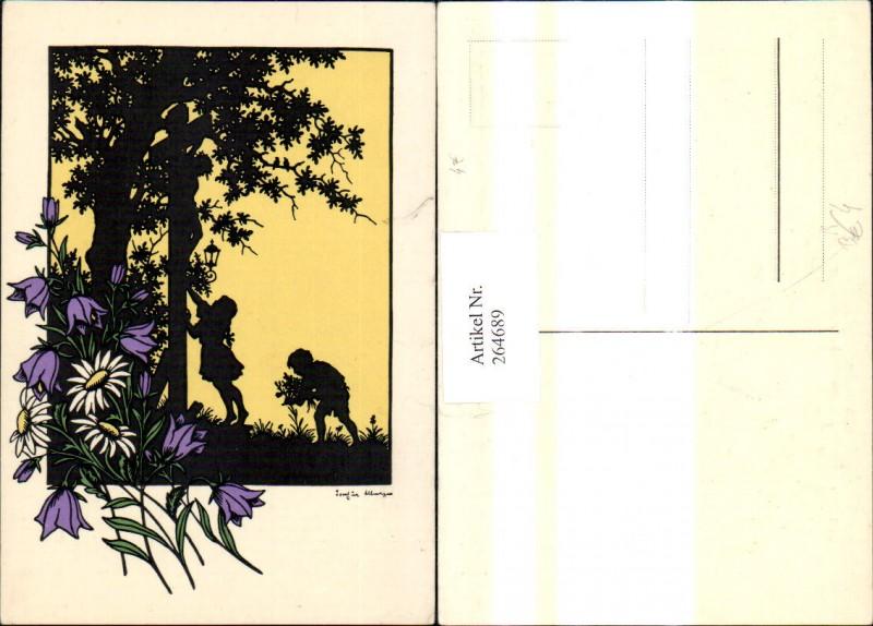 264689,Künstler Ak Scherenschnitt Silhouette Josefine Allmayer Kinder v. Kreuz Baum Blumen Glockenblumen Margeriten