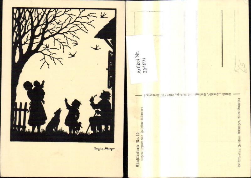264691,Künstler Ak Scherenschnitt Silhouette Josefine Allmayer 45 Familie v. Haus Vögel Baum Hund