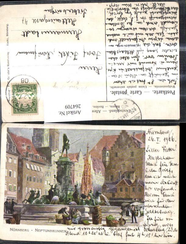264709,Künstler Litho Paul Kley Nürnberg Neptunbrunnen Brunnen