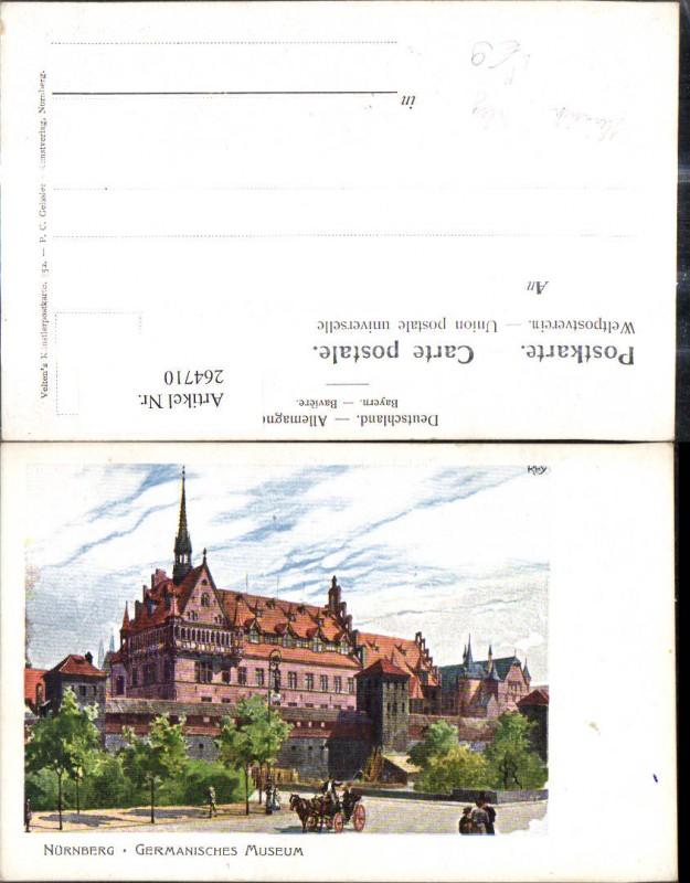 264710,Künstler Litho Heinrich Kley Nürnberg Germanisches Museum Kutsche