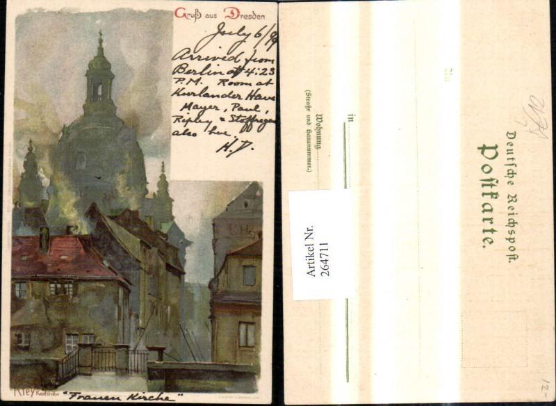 264711,Künstler Litho Heinrich Kley Karlsruhe Gruß a. Dresden pub E. Nister