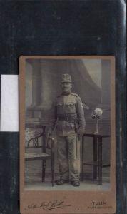 CDV 100 K.K. Armee Soldat Uniform pub Fotograf Arth. Josef Bett Tulln