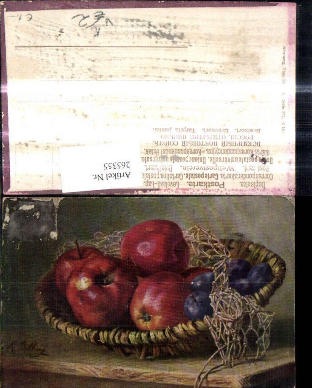 265355,Theo Stroefer 377/6 M. Billing Stillleben Korb m. Äpfel Zwetschken Pflaumen