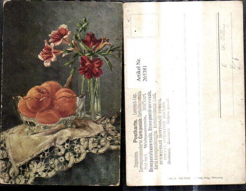 265381,Theo Stroefer 334/6 Künstler Ak M. Billing Stillleben Schale m. Orangen Vase m. Lilien Blumen Blumenvase