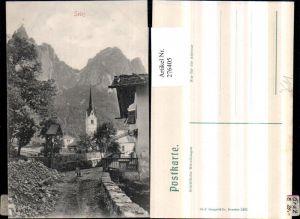 276405,Trentino Bolzano Seiss Seis am Schlern Wegpartie Wegkreuz Kirche Bergkulisse
