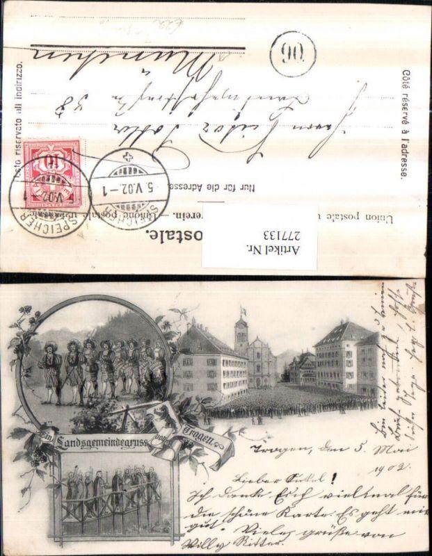 277133,Litho AK Gruß aus Trogen Menschenansammlung Kirche Ritter Mehrbildkarte Kt Appenzell