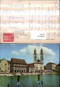 277567,Zürich Limmatquai u. Großmünster Kirche