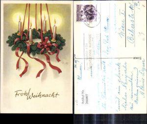 266007,Künstler Ak Zill Weihnachten Adventskranz a. Bänder Schleifen Kerzen