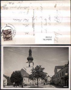 272348,Ottenschlag Hauptplatz Straßenansicht Kirche Turm