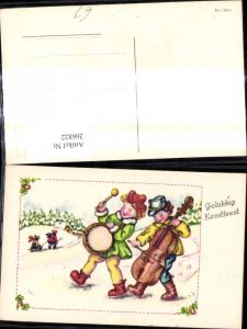 266822,Künstler Ak Kinder m. Trolle Cello Winterlandschaft Musik