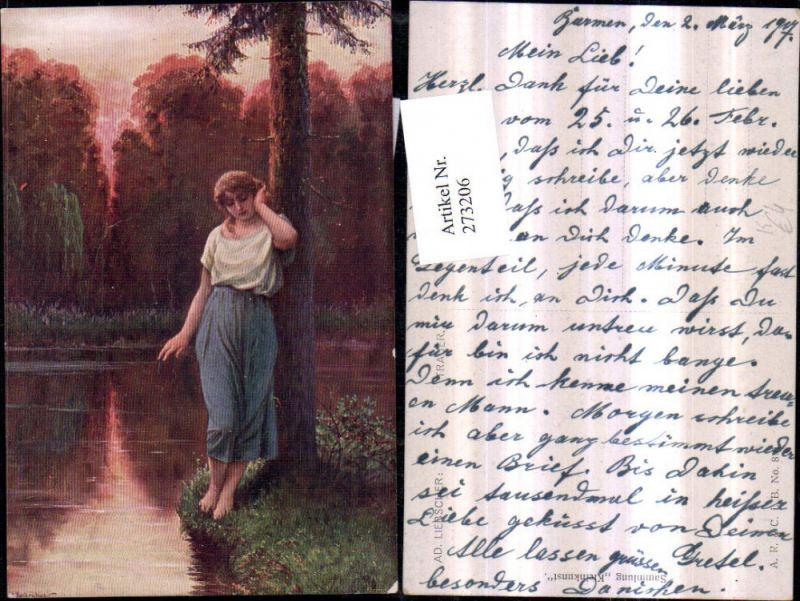 273206,Künstler AK Ad. Liebscher Trauer Frau m. Kleid Sehnsucht Baum Gewässer