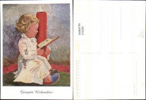 273254,Künstler AK Arnulf Erich Stegmann Mundgemalt Kind m. Kerze Buch Pantoffeln