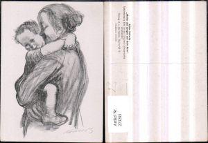 273283,Künstler AK Käthe Kollwitz Mutter m. Jungen auf d. Arm Portrait