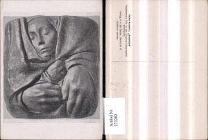 273289,Künstler AK Käthe Kollwitz Grabrelief Frauenkopf Hände