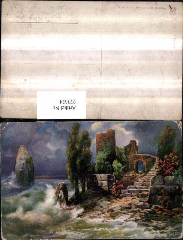 273324,Künstler AK F. Bayerlein Küste Ruine Sturm Partie