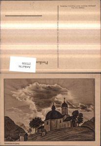 273350,Künstler AK Erich Stegmann Sonnenuntergang Kirche Bergkulisse