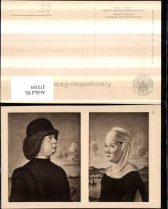 273355,Künstler AK Antonello da Messina Miniaturporträts Frau m. Kopftuch Mann m. Mütze pub J. Löwy Wien