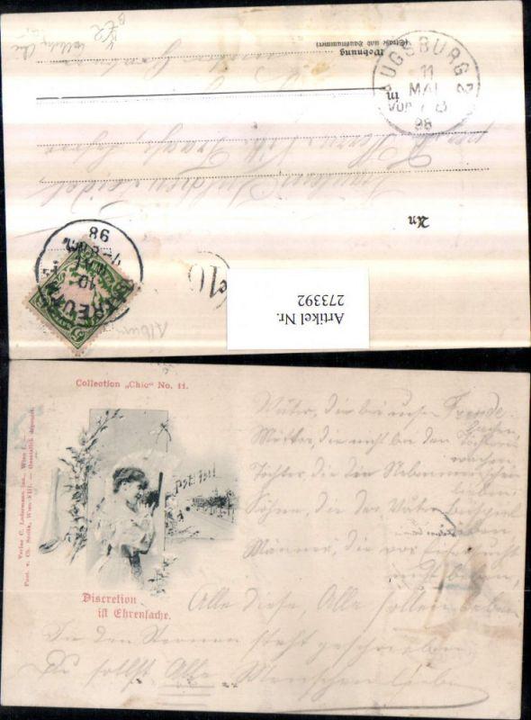 273392,Künstler AK Ch. Scolik Discretion ist Ehrensache Frau m. Kleid pub Collection Chic 11