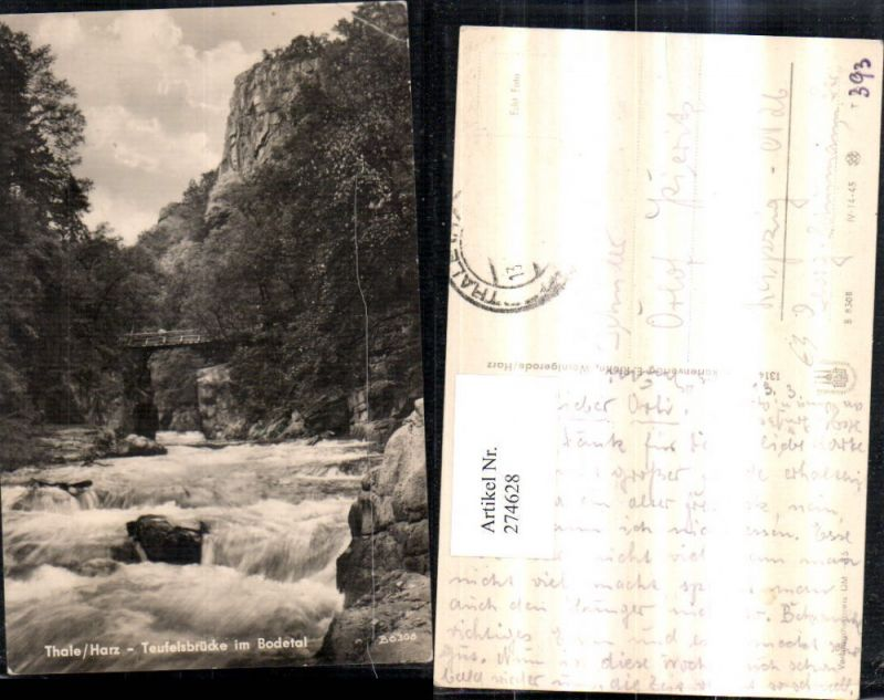 274628,Thale im Harz Teufelsbrücke Brücke im Bodetal Wasserfall