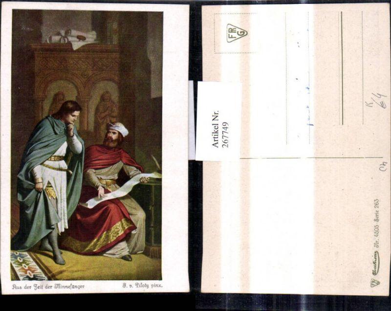 267749,Künstler Ak F. v. Piloty Aus der Zeit der Minnesänger Theater Musik