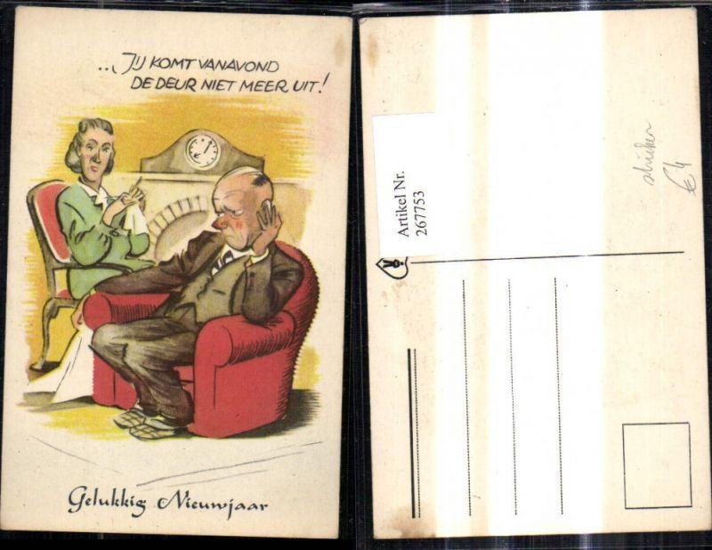 267753,Künstler Ak Frau b. Stricken Mann hat Langeweile Spruch Scherz Humor