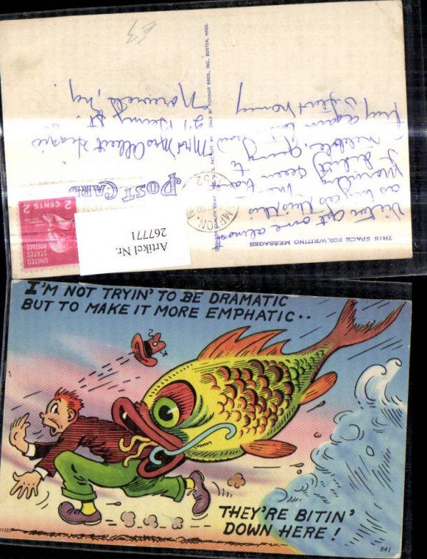 267771,Künstler Ak Riesengoldfisch m. Mann i. Maul Spruch Scherz Humor