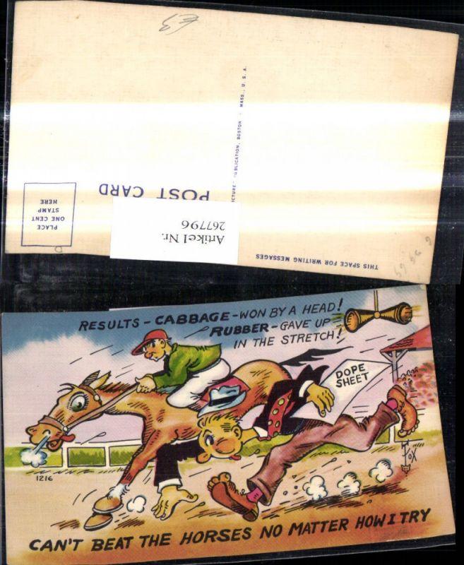 267796,Künstler Ak Scherz Humor Jockey a. Pferd Mann läuft Spruch